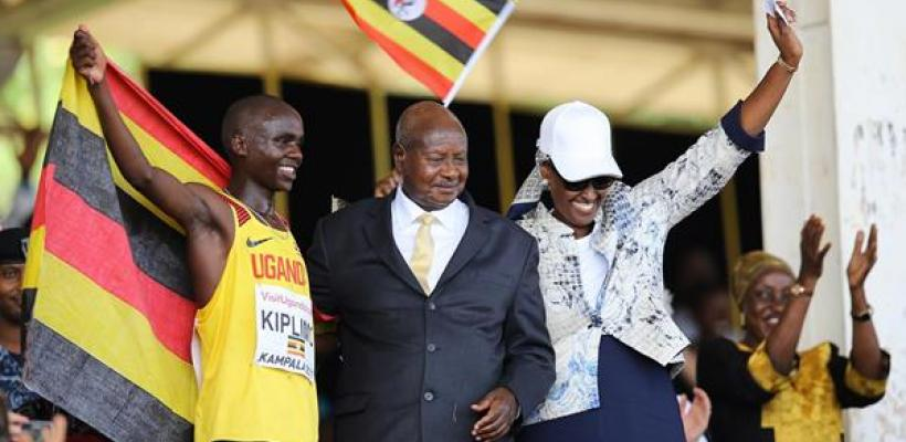 His Excellency, the President and First Lady of Uganda with Gold medalist Jacob Kiplimo